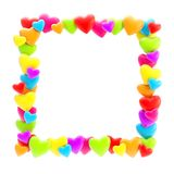 Square photo frame made of hearts isolated. Square photo frame made of colrful cute glossy hearts isolated on white background Vector Illustration