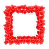 Square photo frame made of hearts isolated Stock Image