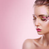 Square photo of gorgeous adult girl with closed eyes on pink bac Stock Images