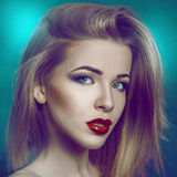 Square photo of gorgeous adult girl with make up Stock Photography