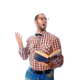 Square photo of nerd in glasses singing songs from the book stock photos