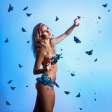Square photo of perfect slim woman with natural breast and butte Royalty Free Stock Photo