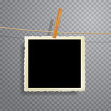 Square photo on rope Royalty Free Stock Images