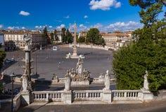 Square Piazza del Popolo in Rome Italy Stock Photos