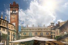 Square Piazza delle Erbe. Verona, Italy Stock Photo