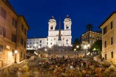 Square Piazza di Spagna,喷泉Fontana della Barcaccia在罗马 库存图片