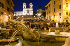 Square Piazza di Spagna, Fountain Fontana della Barcaccia in Rome Stock Photography