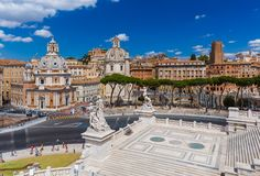 Square Piazza Venezia in Rome Italy Royalty Free Stock Photos