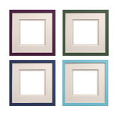 Square picture frames mauve, green, blue, cyan with card insert, Royalty Free Stock Photos