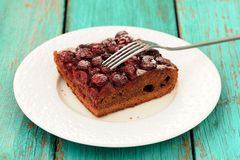 Square piece of homemade yummy chocolate cake with cherries with Royalty Free Stock Images
