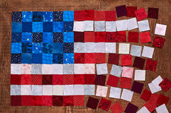 Square pieces of fabrics lying like a flag of USA Royalty Free Stock Photography