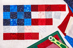 Square pieces of fabrics lying like a flag of USA Royalty Free Stock Photos