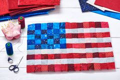 Square pieces of fabrics selected and stitched like a flag of US Stock Photos