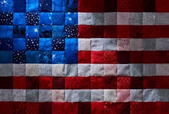 Square pieces of fabrics selected and stitched like a flag of USA Royalty Free Stock Image