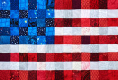 Square pieces of fabrics selected and stitched like a flag of USA Royalty Free Stock Images