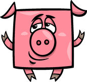 Square pig cartoon illustration Royalty Free Stock Image