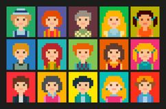 Square pixel avatars set. Fifteen colourful portraits. Set of cute square avatars in pixel style. Male and female character Royalty Free Stock Photography