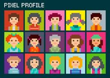 Square pixel avatars set. Fifteen portraits. Pixel male and female faces avatars. Male and female character in squares Stock Image