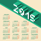 Square Pixel Style Year 2015 Calendar. Vector Illustration Stock Images