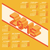Square Pixel Style Year 2015 Calendar. Vector Illustration Royalty Free Stock Photo