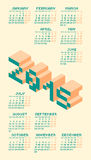 Square Pixel Style Year 2015 Calendar. Vector Illustration Royalty Free Stock Images