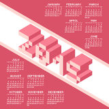 Square Pixel Style Year 2015 Calendar. Vector Illustration Royalty Free Stock Image