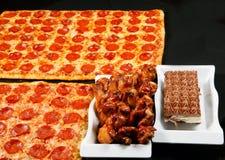 Square pizza combo. Fresh and hot square family pizza combo stock photo