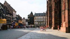 Square Place de La Cathedrale在史特拉斯堡 库存照片