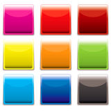 Square plastic web icon. Nine square plastic web icons with light reflection and room to add text Stock Photography