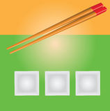 Square plate and chopsticks Stock Photo