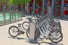 Square Plaza Ramales of Madrid in the downtown with bicycles in. Madrid, Spain - June 05, 2017 : Square Plaza Ramales of Madrid in the downtown with bicycles in royalty free stock images