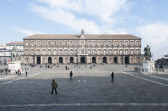Square plebiscite with the royal palace naples campania Italy europe Stock Photos