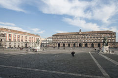 Square of Plebiscite with the royal palace and the palace of the prefecture Naples Campania Italy Europe Royalty Free Stock Photography