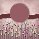 Square plum floral stamp card Royalty Free Stock Image