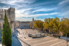 Square at Pope's palace, Avignon, HDR image Stock Image