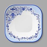 Square porcelain dish with a blue pattern in the style of national porcelain painting. Vector illustration stock illustration