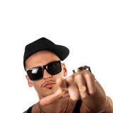 Square portrait of male in hat and sunglasses Royalty Free Stock Image