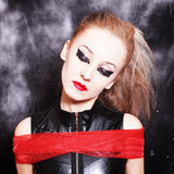 Square portrait of young woman with gothic makeup Stock Photos
