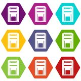 Square post box icon set color hexahedron. Square post box icon set many color hexahedron isolated on white vector illustration Royalty Free Stock Photography
