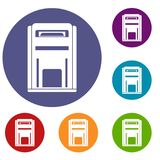 Square post box icons set. In flat circle reb, blue and green color for web Stock Image