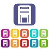 Square post box icons set Stock Photo