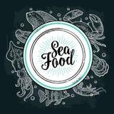 Square poster sea food. Vector vintage engraving illustration on dark background Stock Images