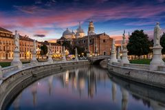 The square of Prato della Valle in Padova, Italy. After sunset royalty free stock photography