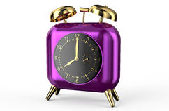 Square purple alarm clock Royalty Free Stock Images