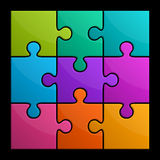 Square puzzle. 3D rendering of a colorful, square, interlocking puzzle Royalty Free Stock Image