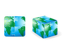 Square puzzle earth Stock Photography