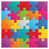 Square puzzle - 25 parts. Square puzzle. 25 color parts Stock Photo