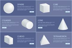 Square Pyramid Octahedron Cylinder Cone Sphere 3D. Sphere cube cylinder cone cuboid tetrahedron 3D geometric shapes vector illustration white geometry figures royalty free illustration