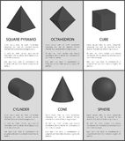 Square Pyramid Octahedron Cylinder Cone Sphere 3D. Square pyramid octahedron cylinder cone and sphere 3D geometric shapes vector illustration black geometry Stock Photos