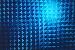 Square pyramidal blue stripped pattern texture illuminated neon plastic glow Stock Photography